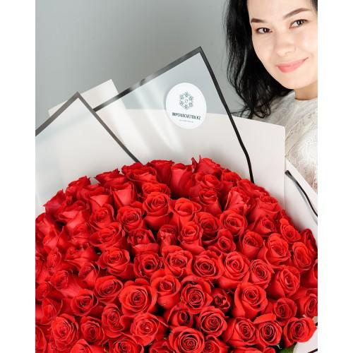 Купить на заказ Букет из 101 красной розы с доставкой в Жетысае