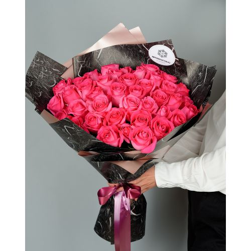 Купить на заказ Букет из 51 розовых роз с доставкой в Жетысае