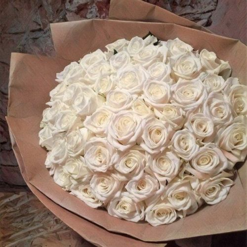 Купить на заказ Букет из 101 белой розы с доставкой в Жетысае